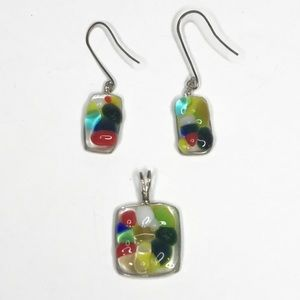 Jewelry - Pendant and Earring Set Hand Blown Glass Artisan